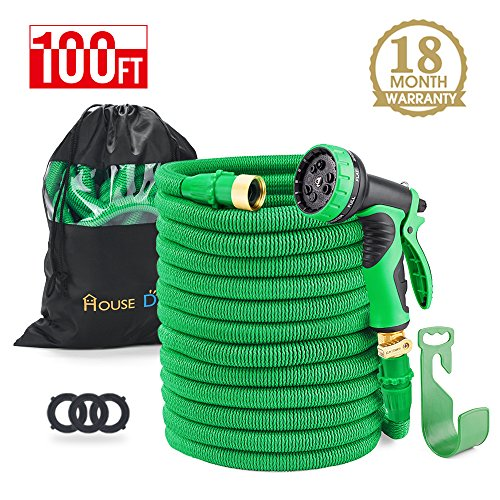 HOUSE DAY 100 feet Green Heavy Duty Expanding Garden Water Hose,3/4″ Solid Brass Fittings,Expandable Hose,9-Function Spray Nozzle,Hose Holder