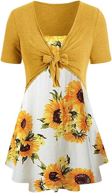 2019 Summer Deals,Women Short Sleeve Plus Size Mini Dress Loose Knot Top Floral Chiffon Short Dress Suits