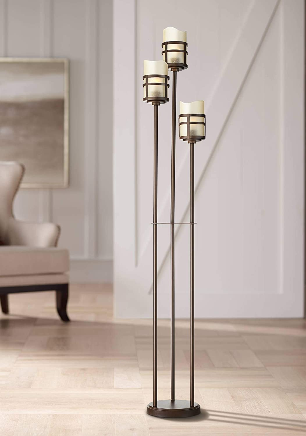 Carob Modern Farmhouse Rustic Torchiere Floor Lamp Tree 3-Light Oil Rubbed Bronze Amber Scavo Glass Shades Decor for Living Room Reading House Bedroom Home Office Uplight - Franklin Iron Works