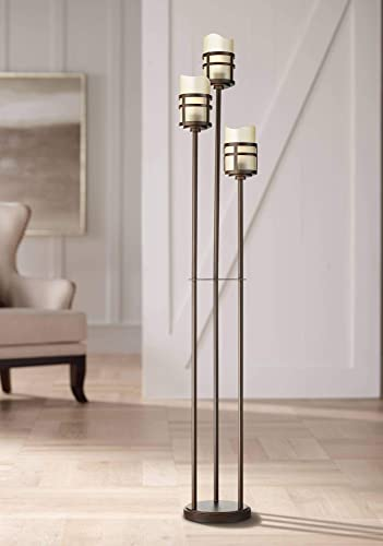 Carob Modern Farmhouse Rustic Torchiere Floor Lamp 3-Light Tree Oil Rubbed Bronze Amber Scavo Glass Shade