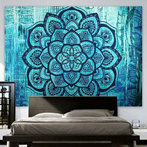 - Indian Hippie Tapestry Mandala Wall Hanging Blue Lotus Bohemian Decor Psychedelic Intricate Floral Flower Wall Decor Beach Throw Bedspread Tapestries for Bedroom (82.6 x 59 inch, Turquoise Flower)