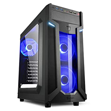 Sharkoon VG6-W - Caja de Ordenador, PC Gaming, Semitorre ATX, Negro/Azul: Amazon.es: Informática