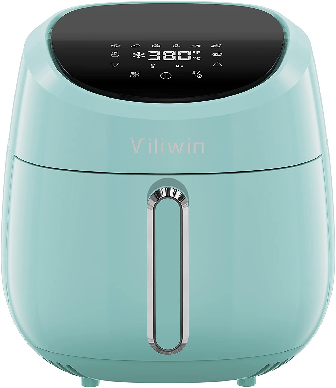 Viliwin Air Fryer 4.2 Quart Digital Air Fryer with LCD Touch Screen, Electric Hot Oven Oilless Cooker Nonstick Easy Clean, 8 Preset Menus, Auto Shut Off (Aqua)
