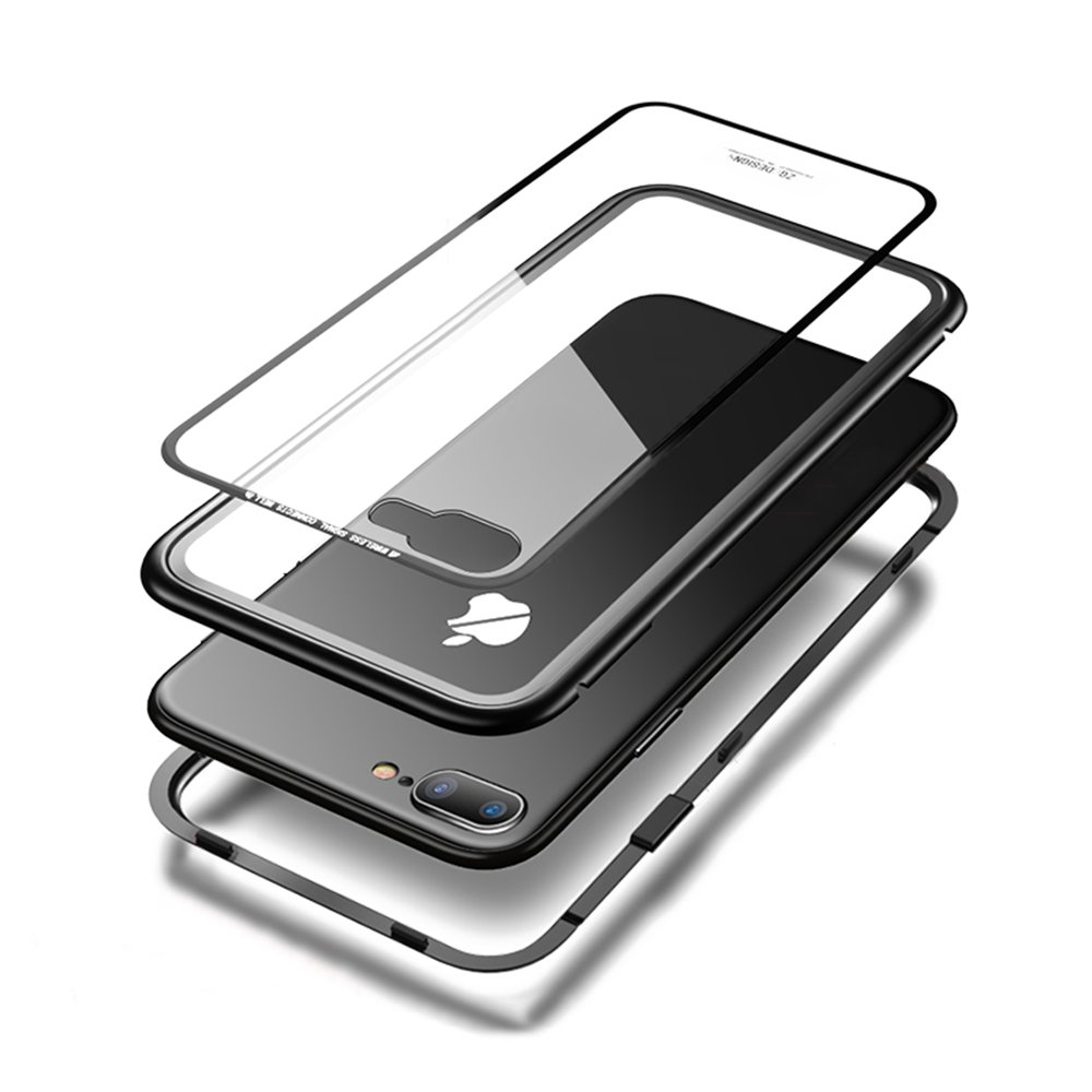iPhone 7Plus/8Plus Case MFEEL Ultra Slim Magnetic Adsorption Metal Frame Crystal Clear Tempered Glass Back Support Wireless Charging with Built-in Magnet Flip Cover for Apple iPhone 7Plus/8Plus