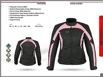 MOTARDZONE - Chaqueta de Moto para Mujer, Impermeable, Cordura, Textil, Color Rosa