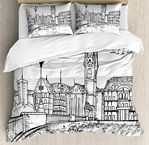 Ambesonne Switzerland Duvet Cover Set, Sketch Style Zurich Town with Bridge and Famous Buildings Monochrome, Decorative 3 Piece Bedding Set with 2 Pillow Shams, Charcoal Grey - Pillow Zurich Bed