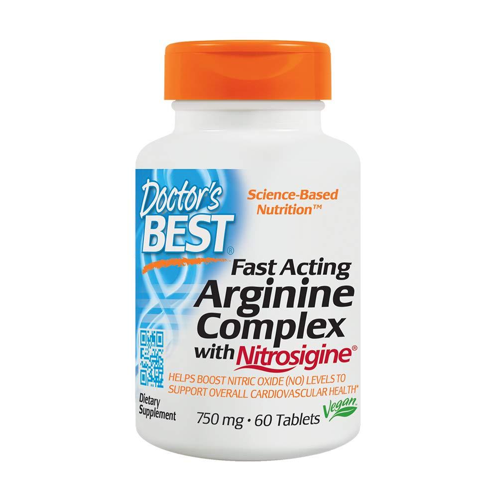 Doctor's Best Fast Acting Arginine Complex with Nitrosigine, Non-GMO, Vegan, Gluten Free, 750 mg, 60 Tablets by Doctor's Best