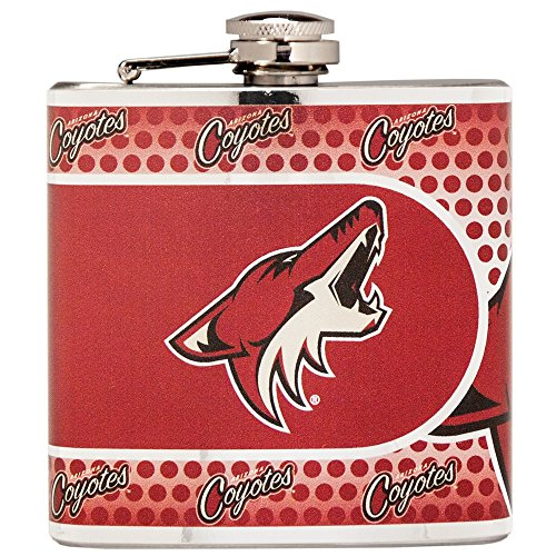 NHL Phoenix Coyotes Stainless Steel Hip Flask with Metallic Graphics, 6 oz., Silver