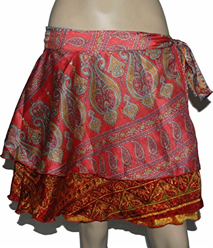 [Handmade Art Silk Indian Wrap Around Skirt Magic Skirt Premium Quality Sari Silk wrap skirt / top / dress - 3 Lengths (1 SKIRT LENGTH 24 INCH (61] (Banjara Dance Costumes)