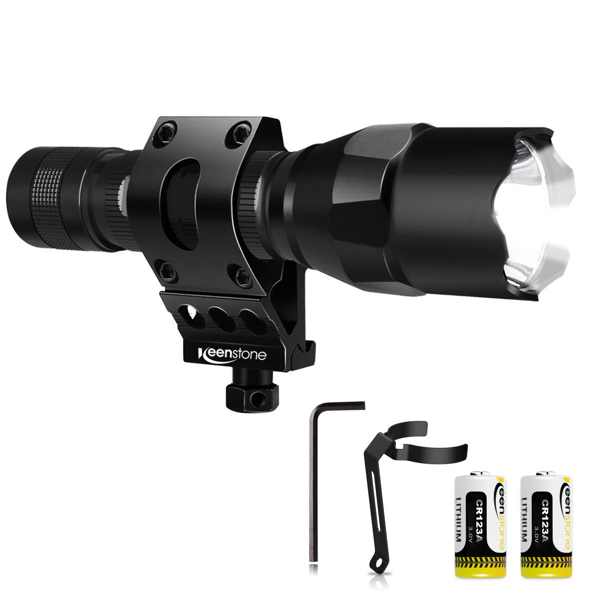 Tactical Flashlight with Picatinny Rail Mount, Keenstone 800 Lumen LED Light Waterproof Tactical Picatinny Flashlight for Home Use or Outdoor Hunting Camping Include with Batteries and Portable Clip