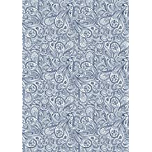 Wedgewood Blue Paisley Notebook -- Creative Journal: 7x10, Cream Paper, 5mm Dot Grid, 184 Pages