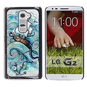 Paccase / SLIM PC / Aliminium Casa Carcasa Funda Case Cover - Ship Sea Anchor Sails Kraken Boat Storm - LG G2 D800 D802 D802TA D803 VS980 LS980