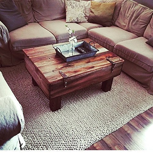 Reclaimed Fruit Crate Coffee Table with Hinged Storage - Approx. 38