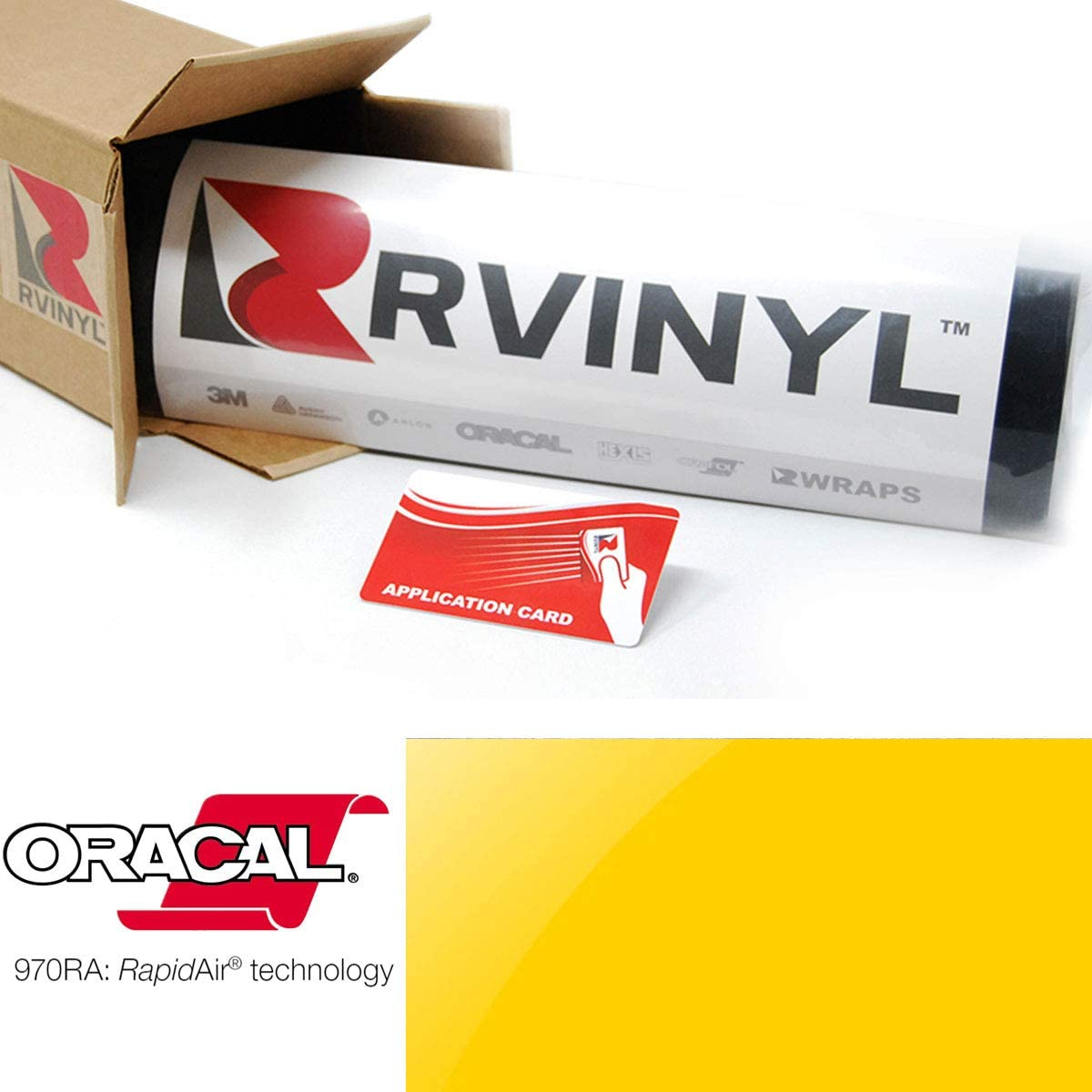 1ft x 5ft w//App Card ORACAL 970RA Gloss Traffic Yellow 216 Wrapping Cast Film Vehicle Car Wrap Vinyl Sheet Roll
