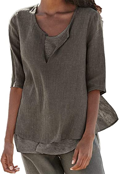 Celucke 2019 New Women's Loose Linen Shirt Blouse, Casual Button V Neck Plus Size Solid Tunic Tops