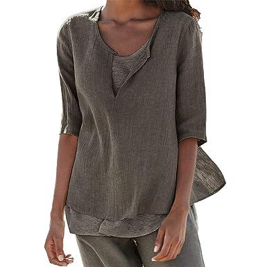 Vereinigte Staaten beliebte Geschäfte Bestbewertet authentisch Amphia - Damen Locker Hemd Blusenshirt,Frauen Lose Leinen Lässige Button  V-Ausschnitt Plus Size Solide Shirt Bluse Tunika Tops
