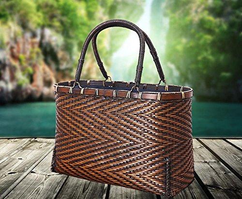 Retro a mano Borse di bambù cinese per le donne Ecologico Caratteristica di bambù naturale Basket