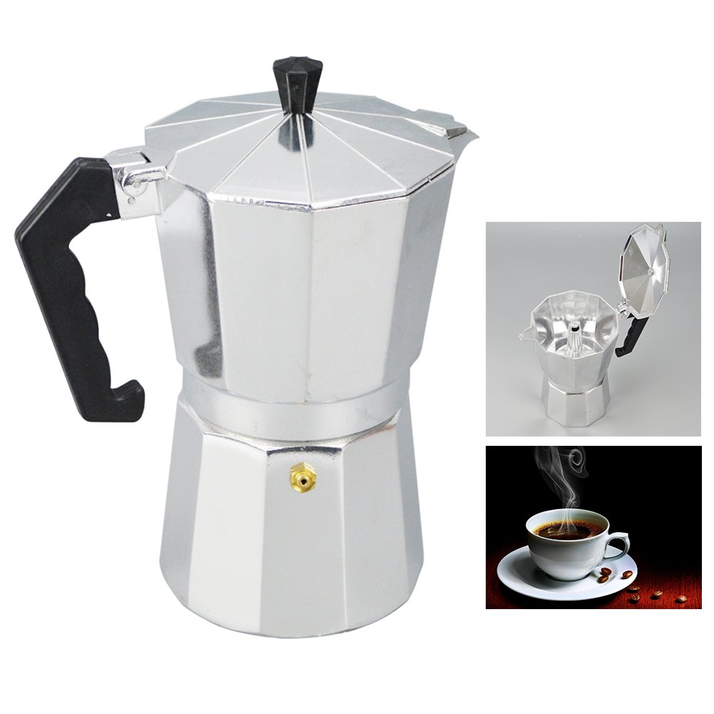 Aluminum 1/3/6/9/12 Cup Latte Mocha Coffee Pot Stove Top with Cool Handle Flip Top Lid Espresso Maker Tool Easy Clean for Home Office Coffee and Tea Tools (300ml,silver and black)