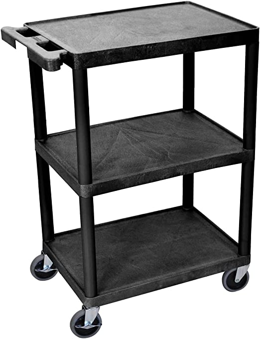 3-Shelf Collapsible 4-Wheeled Resin Multi-Purpose Utility Cart In Black//Red