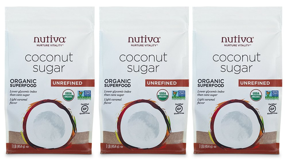 Nutiva USDA Certified Organic, non-GMO, Unrefined Granulated Coconut Sugar, 1-Pound, Pack of 3