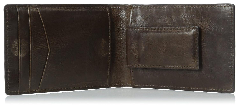 Fossil Mens Neel Leather Money Clip Bifold Wallet