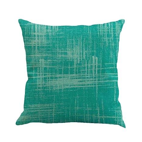 Winwintom Color sólido lino funda de Cojin almohada caso ...