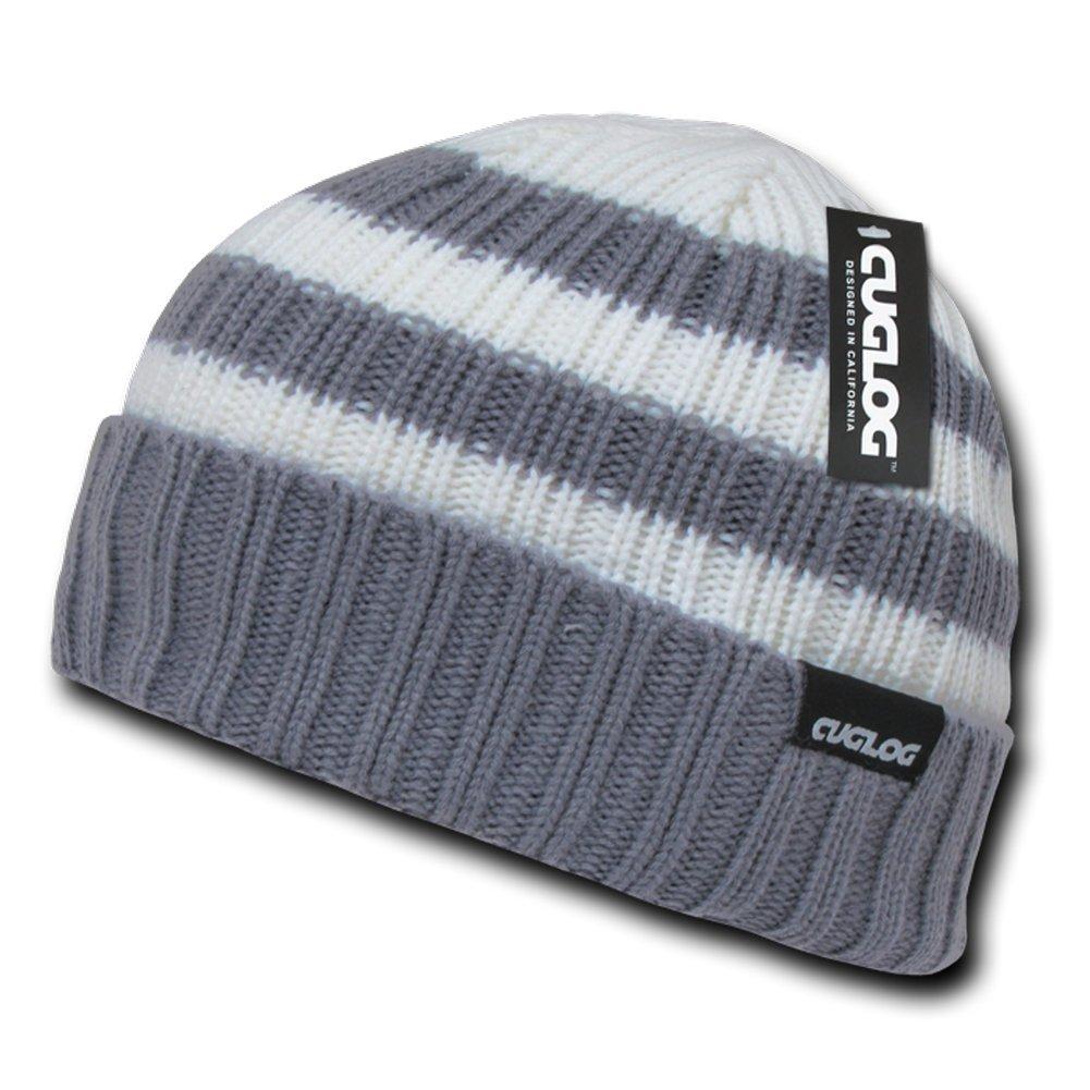 CUGLOG Genuine 2-Tone Striped Beanie Hat - Grey at Amazon Men s Clothing  store  Skull Caps c4870532d0b8