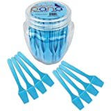 "Beauticom Pana Brand Cosmetic Make Up Disposable Plastic 2.5"" Spatulas Skin Care Facial Cream Mask Spatula (100 Pieces in a Container) (BLUE)"