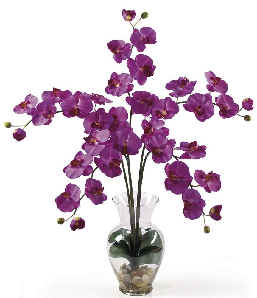 Nearly Natural 1106-OR Phalaenopsis Liquid Illusion Silk Flower Arrangement, Orchid
