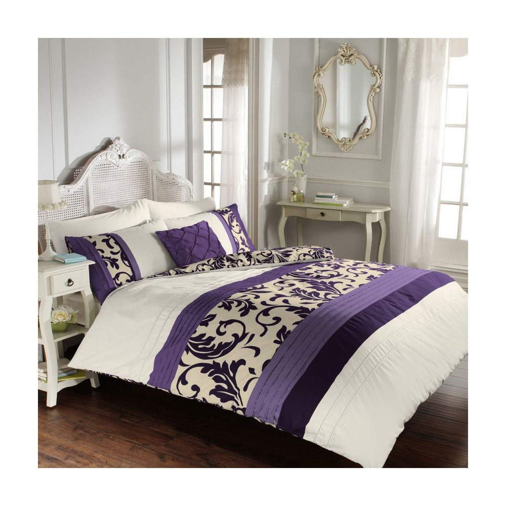 Duvet Quilt Cover Set with Pillowcases Reversible Polycotton Bedding (Scroll Purple, Super King)