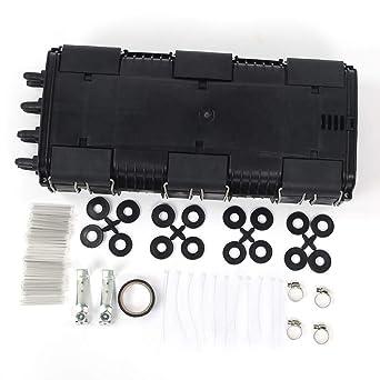 Caja de terminación de fibra, caja de empalme de fibra óptica horizontal de 2 entradas y 2 salidas Caja de conexión de cable de fibra impermeable IP68(48 core): Amazon.es: Industria, empresas y