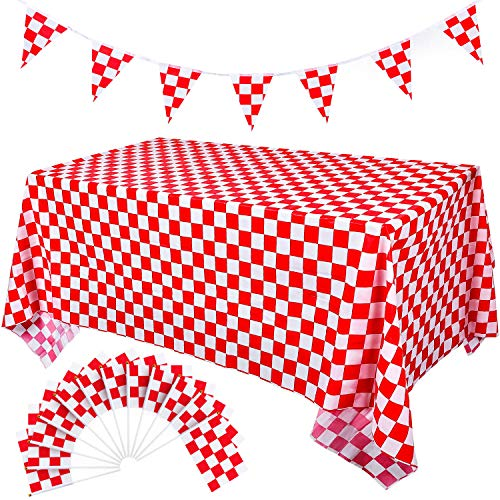 Leinuosen 25 Pack Racing Flags and 2 Pack Checkered Flag Tablecloth and 1 Set 32.8 Feet Checkered Pennant Flags Banner for Birthday Race Themed Party Sport Events (Red and White Checkered) -