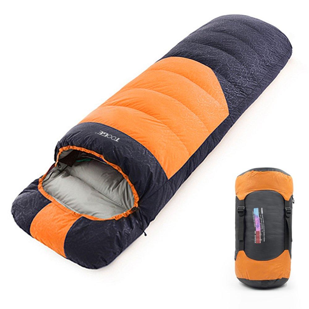 Tooge 寝袋 封筒型 冬用 快適温度-10℃~5℃ ダウン1800g 収納袋付き 2個連結使用