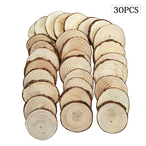 Fuhaieec 30pcs 2.5-2.8 Unfinished Natural Wood Slices Circles with Tree Bark Log Discs for DIY Craft Christmas Rustic Wedding Ornaments