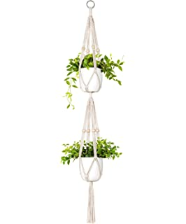 HOSOTO Macrame Plant Hanger,2 Tier Indoor Outdoor Hanging Planter Basket Cotton Rope For 7 inch to 9 inch Pots,Wall Art Boho Style for Indoor Outdoor Home D/écor