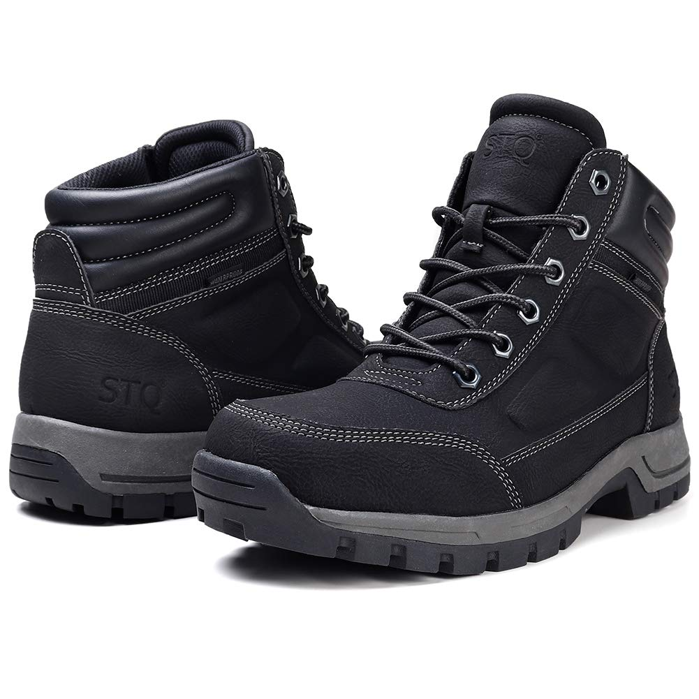 STQ Mens Hiking Boots Fall/Winter Waterproof Slip Resistant Lace up Insulated Work Boots with Fur Black 11 by STQ