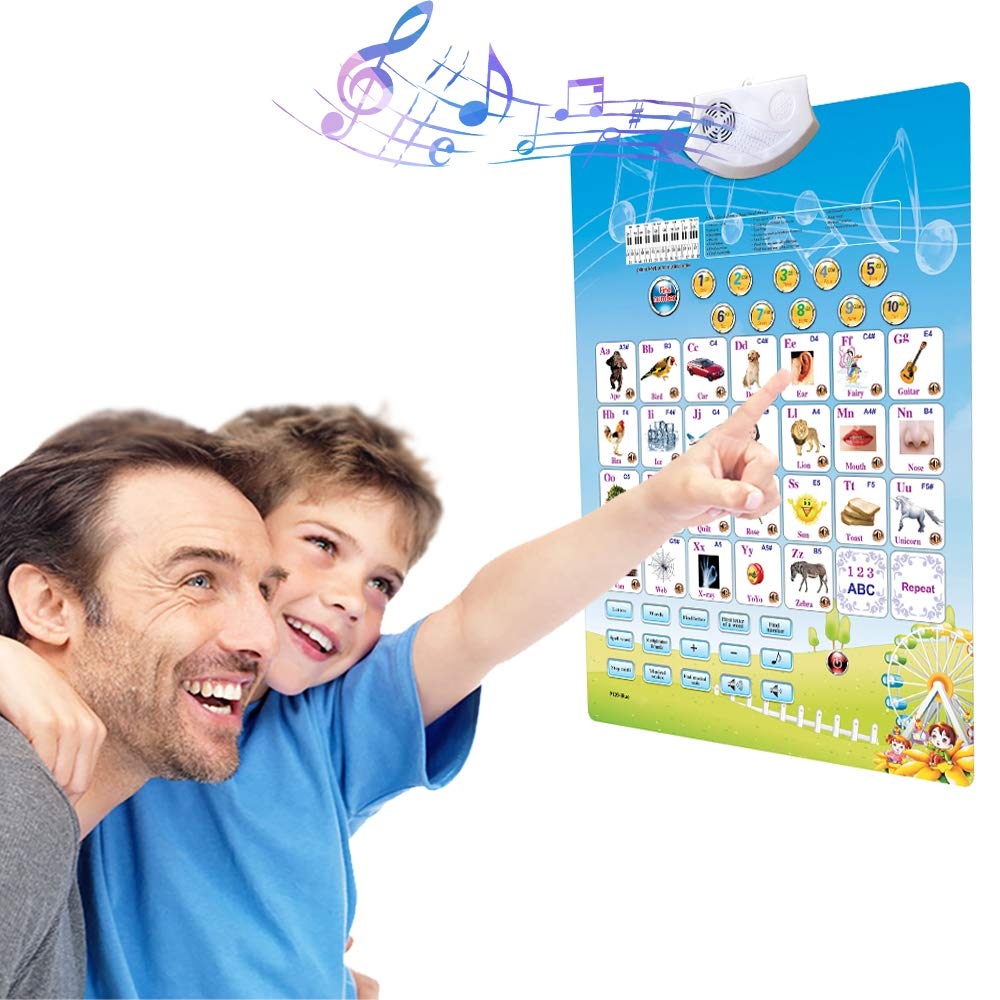 A+ Morn Fun Talking Alphabet Poster for Learning ABC &123s & Musical Scale at Daycare, Preschool, Kindergarten. Electronic Interactive Educational Talking Chart Toy for Toddlers of Ages 2 to 5 Years. by A+ Morn LLC