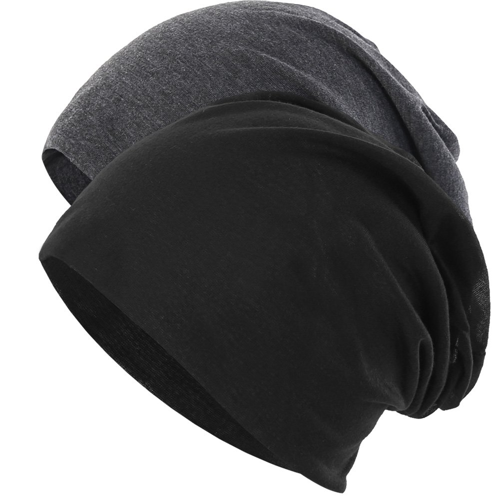 Novawo 2pcs Unisex Slouchy Beanie Hats Skull Cap Baggy Beanie for Men Women
