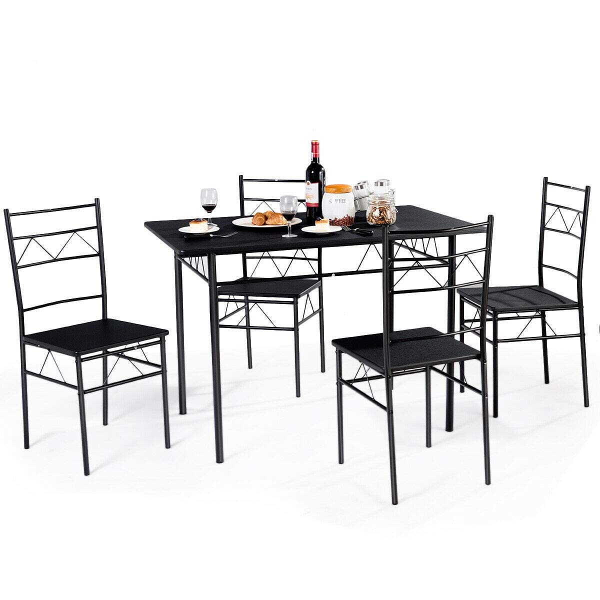 Giantex 5 PCS Dining Table and Chairs Set, Wood Metal Dining Room Breakfast Furniture Rectangular Table with 4 Chairs, Black (Style 3) by Giantex