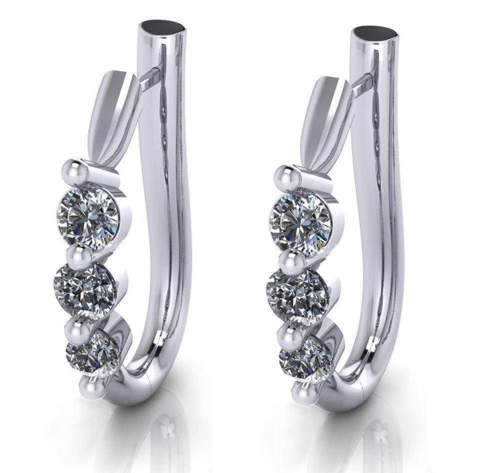 1.10 ct Ladies Round Cut Diamond Hoop Huggie Earrings by Madina Jewelry (Image #2)