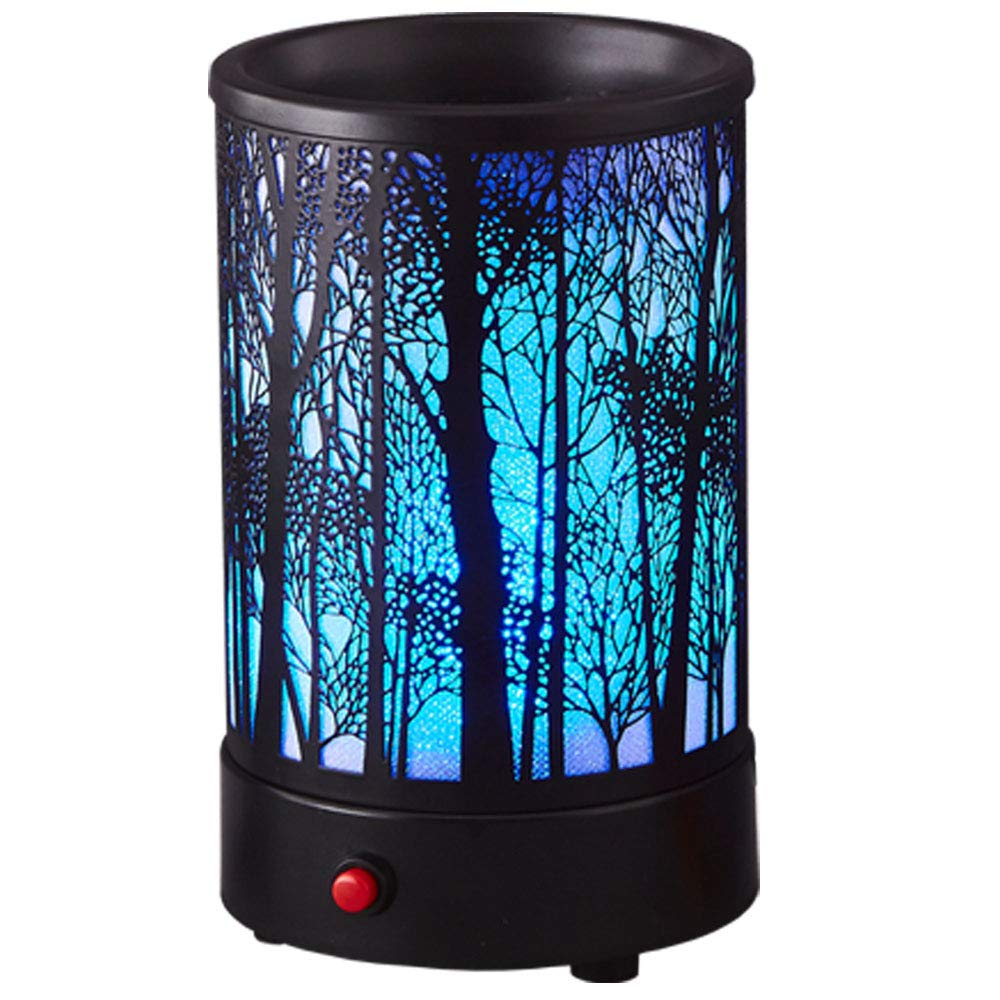 Hituiter Wax Melts Candle Warmer Classicand 7 Color LED Lights Black Metal Forest Design Fragrance Oil Warmer Lamp Changing for Home Décor (BL-MTY-S)B