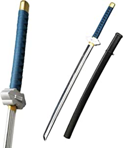 Munetoshi Fantasy Anime Samurai Katana w/Scabbard Foam Toy Sword Chrome Blade Blue Handle Cosplay LARP