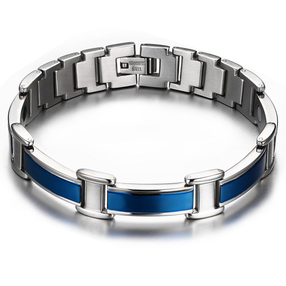 JFUME Magnetic Therapy Bracelet for Men or Women Pain Relief for Arthritis Royal Blue 8.3inch MESB-007BL