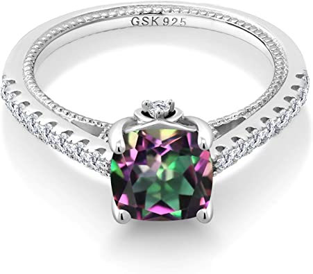 Gem Stone King 3.06 Ct Heart Shape Green Mystic Topaz Blue Iolite 925 Sterling Silver Pendant