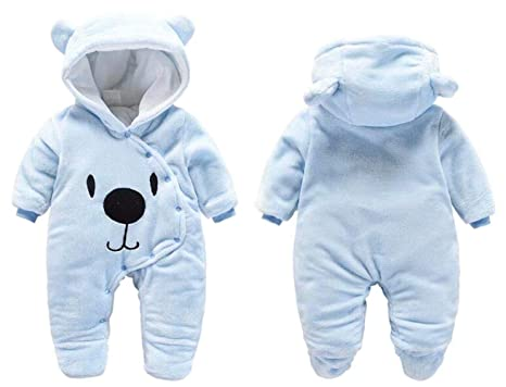 23dfad0dbe31 Amazon.com  BANGELY Newborn Baby 3D Cartoon Bear Hooded Thick Windproof  Romper Jumpsuit Warm Footies  Clothing