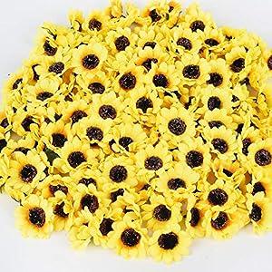 DearHouse 150 Pcs Artificial Silk Sunflower Heads, Fake Sunflower 1.8″ for Sunflower DIY Wedding Fall Autumn Party Floral Wreath Accessories