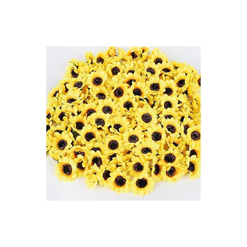 """silk flower arrangements dearhouse 150 pcs artificial silk sunflower heads, fake sunflower 1.8"""" for sunflower diy wedding fall autumn party floral wreath accessories"""
