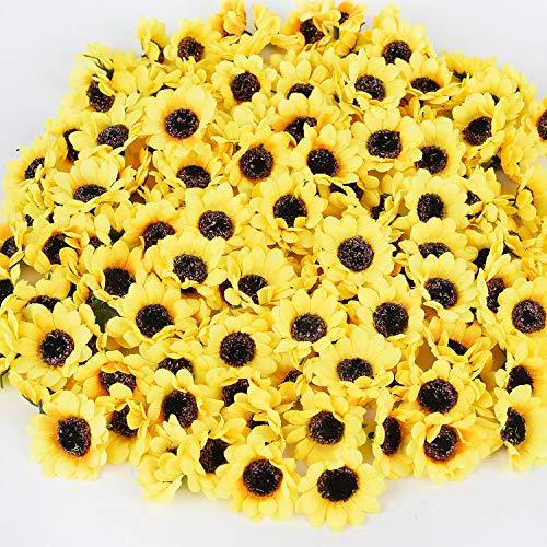 DearHouse 150 Pcs Artificial Silk Sunflower Heads, Fake Sunflower 1.8