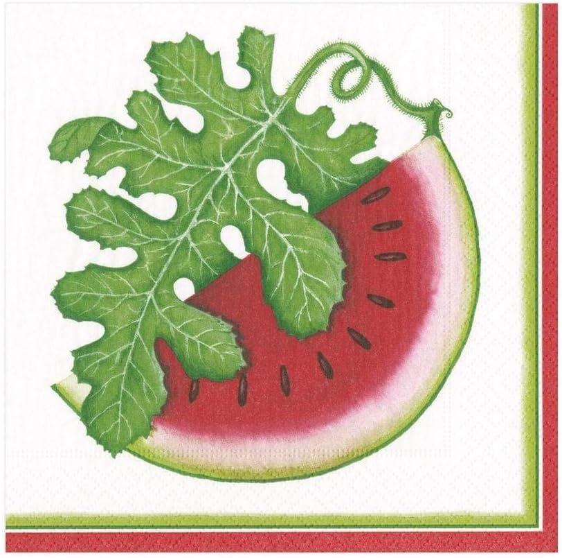 Pack of 20 12.7 x 12.7 x 3 cm Multi Entertaining with Caspari Watermelon Picnic Cocktail Paper Napkin