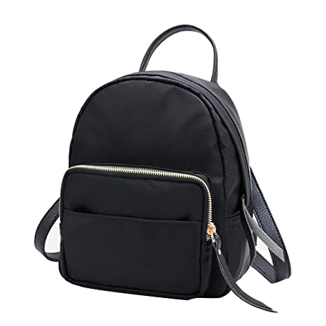 f5eed9fb75 Amazon.com  Nylon Waterproof Backpack Fashion Backpack Women Small Travel  Bag BK  Office Products